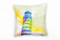 Schiefe Turm von Pisa Deko Kissen Bezug 40x40cm für Couch Sofa Lounge Zierkissen