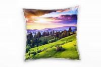 Landschaft, grün, blau, gelb, Sonnenuntergang, Ukraine Deko Kissen 40x40cm für Couch Sofa Lounge Zie