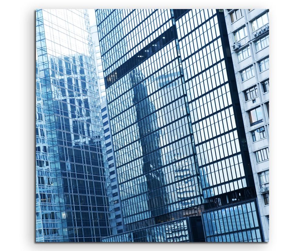 60x90cm Architekturfotografie Poster Wolkenkratzer und Lichtbahnen