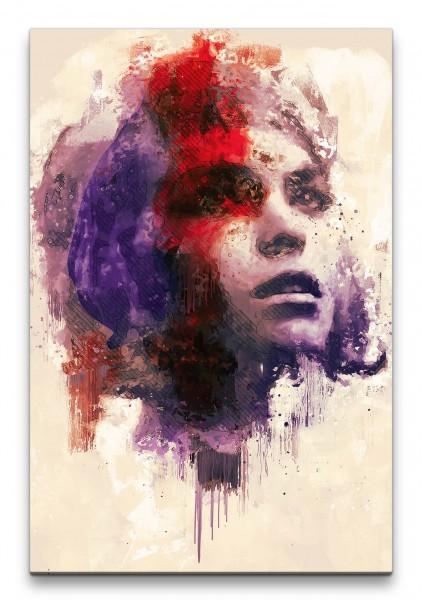 Arizona Muse Porträt Abstrakt Kunst Model junge Frau Farben 60x90cm Leinwandbild