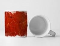Tasse Geschenk rote Grundierung und hellrote Linie