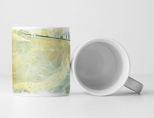Tasse Geschenk Grün-beige Farbgebung + Taubenblaue Elemente