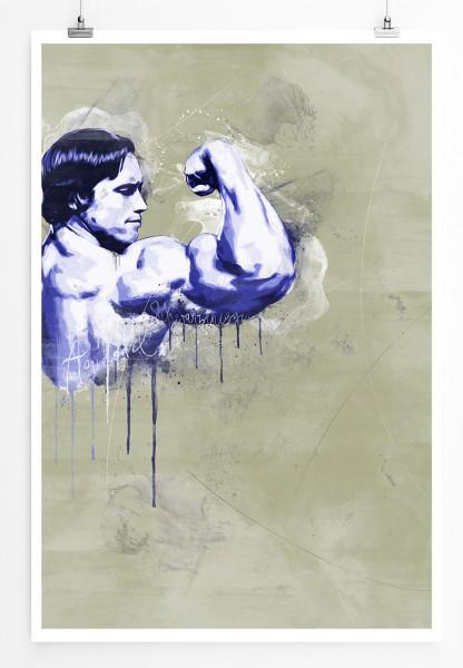 Arnold Schwarzenegger 90x60cm Paul Sinus Art Splash Art Wandbild als Poster ohne Rahmen gerollt