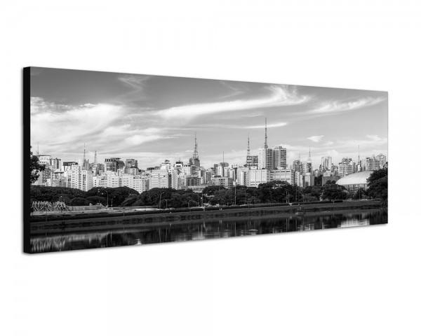 150x50cm Brasilien Sao Paulo Skyline Meer Spiegelung