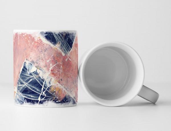 Tasse Geschenk lachsfarbenes Muster auf stahlblauem Hintergrund