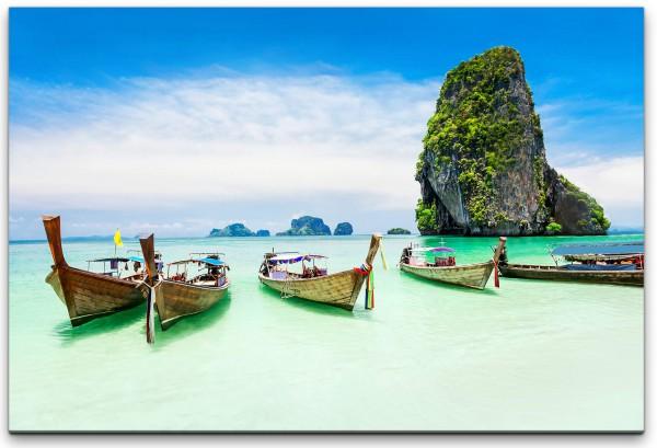 Ruderboote in Thailand Wandbild in verschiedenen Größen