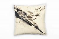 Abstrakt, beige, schwarz, Pinsel, Malerei Deko Kissen 40x40cm für Couch Sofa Lounge Zierkissen
