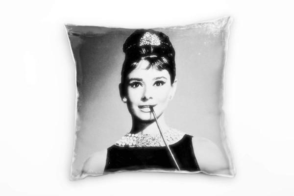 Vintage, Audrey Hepburn, grau Deko Kissen 40x40cm für Couch Sofa Lounge Zierkissen