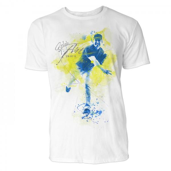 American Baseball Pitcher 2 Sinus Art ® T-Shirt Crewneck Tee with Frontartwork