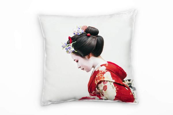 künstlerische Fotografie, Japanerin, rot Deko Kissen 40x40cm für Couch Sofa Lounge Zierkissen
