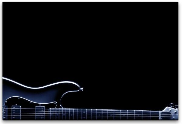 Gitarre in schwarz Wandbild in verschiedenen Größen