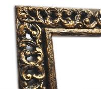 Echtholzrahmen Gold Schwarz in Vintageoptik