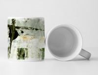 Tasse Geschenk antik-weiße, hellgraue Abstraktion, waldgrünen Elementen