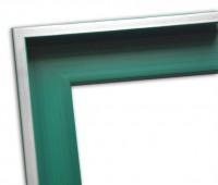 Echtholz Schattenfugenrahmen in grün mit Silberkante
