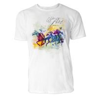 Pferderennen mit 3 Pferden Sinus Art ® T-Shirt Crewneck Tee with Frontartwork