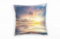 Meer, blau, gelb, grau, Spiegelung, Sonnenuntergang Deko Kissen 40x40cm für Couch Sofa Lounge Zierki