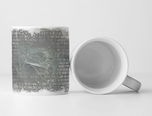 Tasse Geschenk weiße Druckschrift und steingraue Grundierung