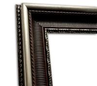 Exklusiver Echtholzrahmen Antik Stuck braun-silber