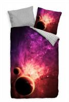 Purpur Weltraum Planet Gold Bettwäsche Set 135x200 cm + 80x80cm  Atmungsaktiv