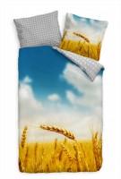 Getreide Makro Žhren Himmel Gelb Blau Bettwäsche Set 135x200 cm + 80x80cm  Atmungsaktiv