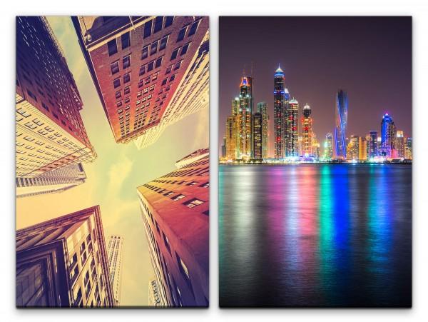 2 Bilder je 60x90cm New York Dubai Wolkenkratzer Skyline Architektur Nacht Mega City