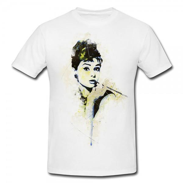 Audrey Hepburn II Premium Motiv aus Paul Sinus Aquarell - Herren und Damen Shirt weiss