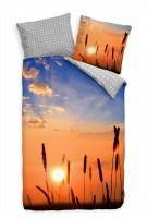 Sonne Grashalm Idyllisch Bettwäsche Set 135x200 cm + 80x80cm  Atmungsaktiv