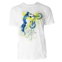 BMX Rad Tailwhip Sinus Art ® T-Shirt Crewneck Tee with Frontartwork