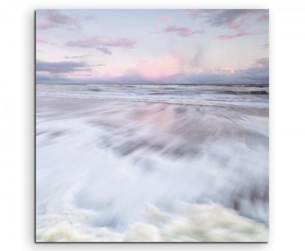 Landschaftsfotografie –  Wellen vor hellem Himmel auf Leinwand exklusives Wandbild moderne Fotografi