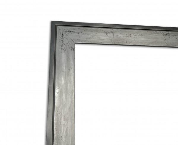 Moderner Bilderrahmen in Grau Silber Echtholzrahmen