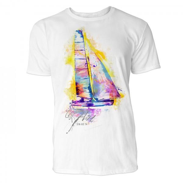 Segeln Katamaran Sinus Art ® T-Shirt Crewneck Tee with Frontartwork