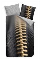 Reiáverschluss Makro Zipper Schwarz Bettwäsche Set 135x200 cm + 80x80cm  Atmungsaktiv