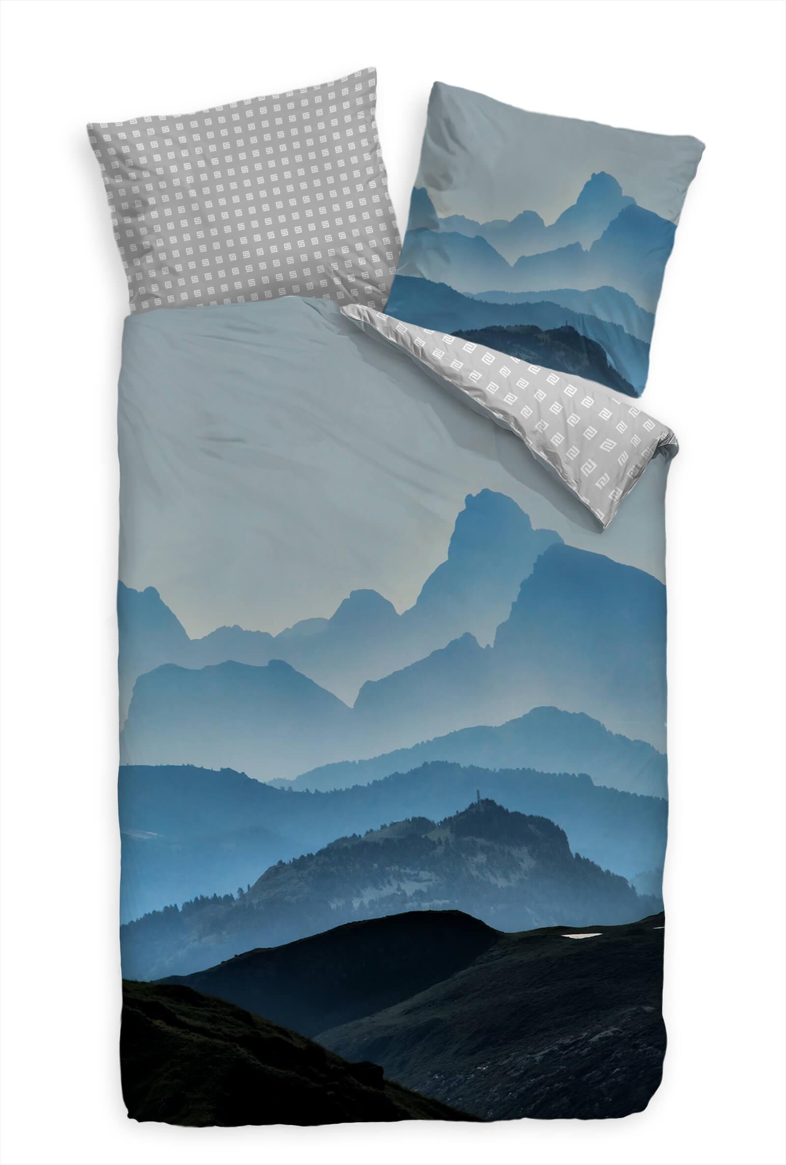 Berge Blau Kalt Panorama Bettwäsche Set 135x200 cm  80x80cm  Atmungsaktiv   Elegante und robuste Verpackung