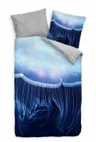 Qualle Natur Makro Blau Bettwäsche Set 135x200 cm + 80x80cm  Atmungsaktiv