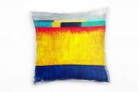 Abstrakt, gelb, blau, grau, türkis, Streife Deko Kissen 40x40cm für Couch Sofa Lounge Zierkissen