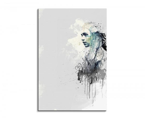 Khaleesi Game of Thrones 90x60cm Aquarell Art Wandbild auf Leinwand fertig gerahmt Original Sinus Ar