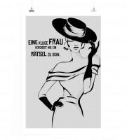 Poster in 60x90cm - Ene kluge Frau vergisst nie ein Rätsel zu sein.