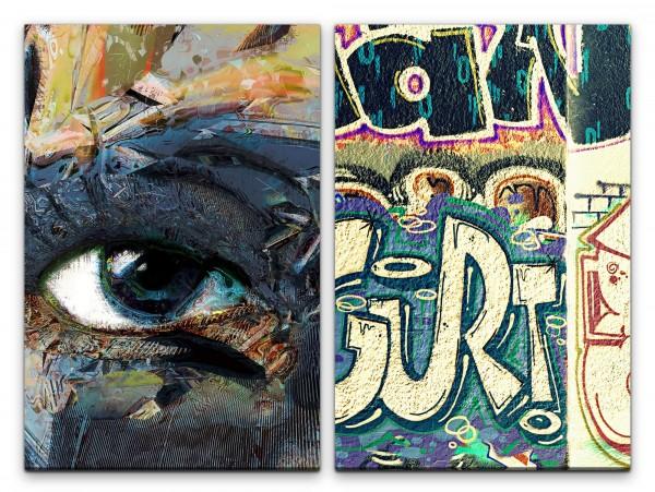 2 Bilder je 60x90cm Auge Street Art Graffiti Tags Hip Hop Rap New York