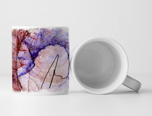 Tasse Geschenk rot violette Farbgebung + abstrakte Formen