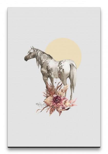 Pferd Wildpferd Wasserfarben Blumen Blüten Sonne Kunstvoll