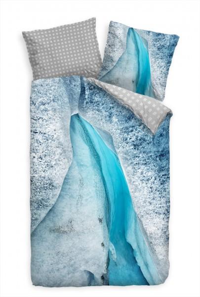 Gletscher Eisberg Blau Makro Bettwäsche Set 135x200 cm + 80x80cm Atmungsaktiv