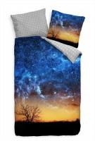 Galaxie Nacht Himmel Blau Gelb Bettwäsche Set 135x200 cm + 80x80cm  Atmungsaktiv