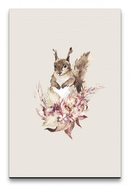 Eichhörnchen Wasserfarben Dekorativ Blumen Strauß Wunderschön