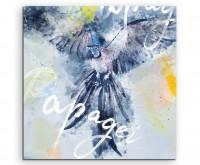 Papagei im Flug Blautönen mit Kalligraphie