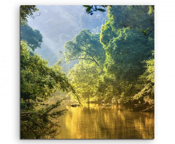 Landschaftsfotografie –  Tropischer Regenwald mit Fluss auf Leinwand exklusives Wandbild moderne Fot