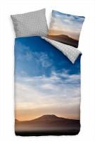 Kilimandscharo Berg Blau Sonnenaufgang Bettwäsche Set 135x200 cm + 80x80cm  Atmungsaktiv