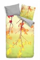 """Herbst Bl""""tter Rot Gelb Bettwäsche Set 135x200 cm + 80x80cm  Atmungsaktiv"""