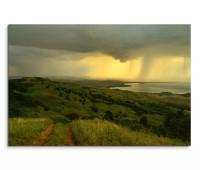 120x80cm Wandbild Wiesen Hügel Landschaft Wolken Regen