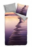 Strand Sonnenuntergang Makro Purpur Lila Bettwäsche Set 135x200 cm + 80x80cm  Atmungsaktiv