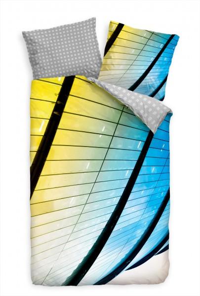 Hochhaus Glas Gelb Blau Perspektive Bettwäsche Set 135x200 cm + 80x80cm Atmungsaktiv
